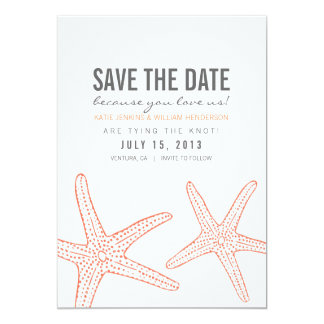 Cute Starfish Save the Date Card Announcements