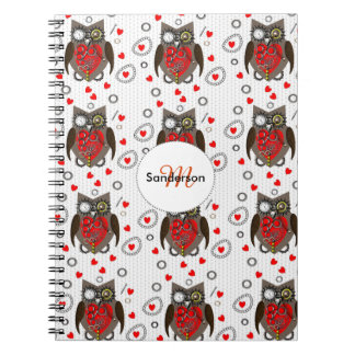 Cute Steam Punk Owls And Red Love Hearts Spiral Notebook
