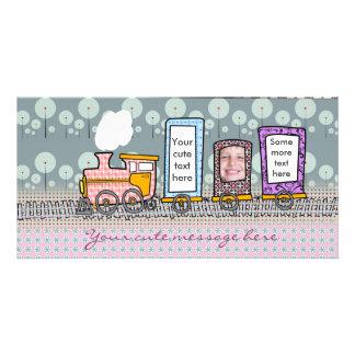 Cute steam train photo card for boys