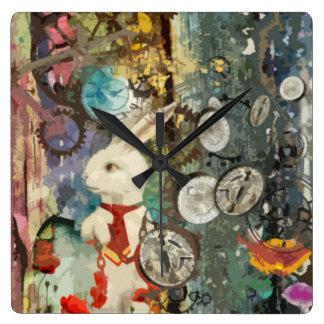Cute steampunk Alice Wonderland white rabbit Square Wall Clock