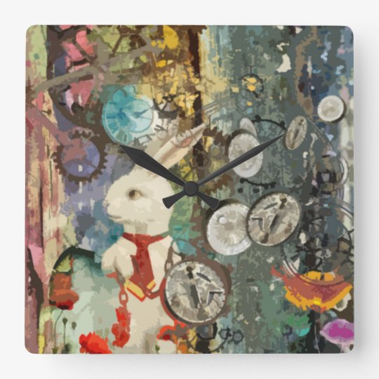 Cute steampunk Alice Wonderland white rabbit Square Wall
