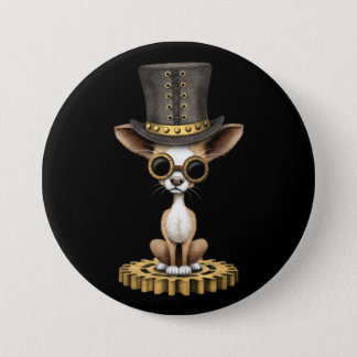 Cute Steampunk Chihuahua Puppy Dog, black 7.5 Cm Round Badge