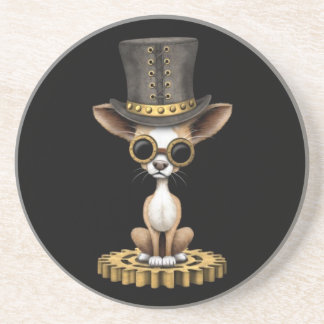 Cute Steampunk Chihuahua Puppy Dog, black Coaster