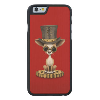 Cute Steampunk Chihuahua Puppy Dog, red Carved® Maple iPhone 6 Case