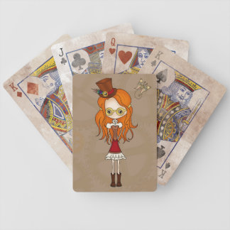 Cute Steampunk Girl & Mechanical Butterfly Bicycle Playing Cards