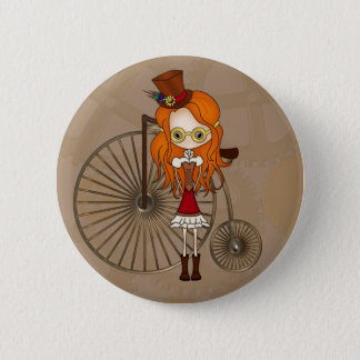 Cute Steampunk Girl & Penny Farthing Bicycle 6 Cm Round Badge