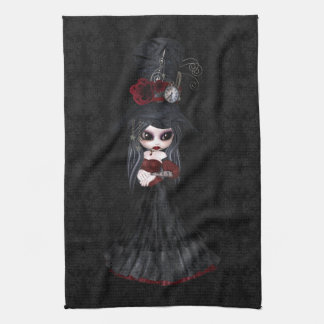 Cute Steampunk Goth Girl Black Kitchen Towel