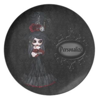 Cute Steampunk Goth Girl Personalized Black Plate