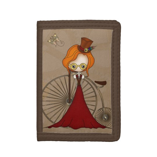 Cute Steampunk Lady and Penny Farthing Bicycle Trifold