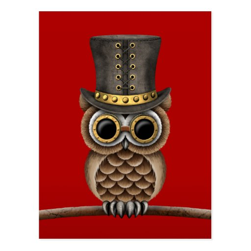 Cute Steampunk Owl on a Branch on Red Post Cards