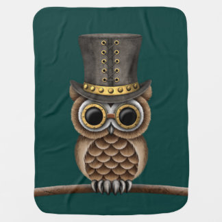 Cute Steampunk Owl on a Branch on Teal Blue Pram blanket