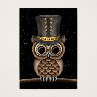 Cute Steampunk Owl On A Branch With Stars Business Card