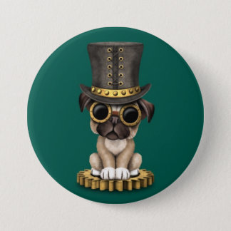 Cute Steampunk Pug Puppy Dog, teal 7.5 Cm Round Badge