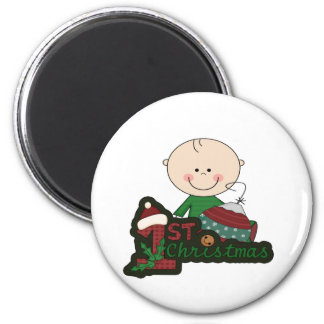 Cute Stick Figure Baby First Christmas. 6 Cm Round Magnet
