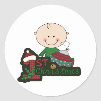 Cute Stick Figure Baby First Christmas. Sticker