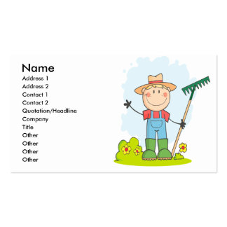 cute stick figure boy gardener farmer business card templates