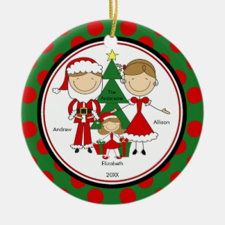 Cute Stick Figure Family of 3 Christmas Ornament