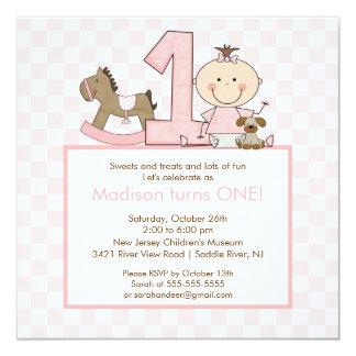 """Cute Stick figure Girl 1st  Birthday Invitation 5.25"""" Square Invitation Card"""