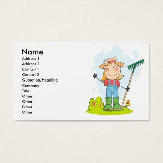 cute stick figure girl gardener farmer
