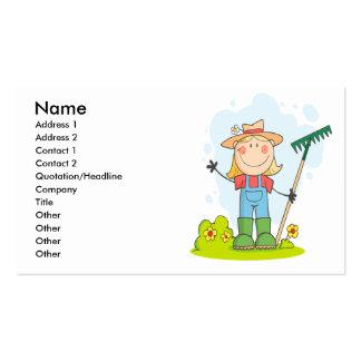 cute stick figure girl gardener farmer pack of standard business cards