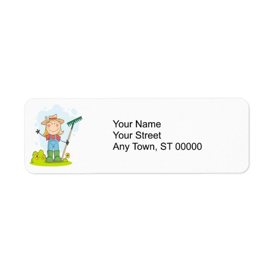 cute stick figure girl gardener farmer return address label