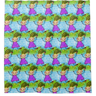 Cute Stick Figure Girls Pattern Shower Curtain