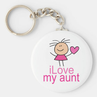 Cute Stick Girl Love My Aunt Gift Basic Round Button Key Ring