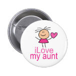 Cute Stick Girl Love My Aunt Gift Pinback Button