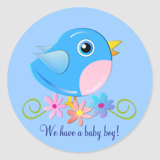 Cute sticker with Baby boy bird and text