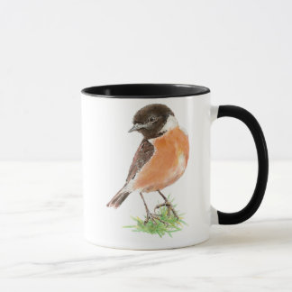Cute Stonechat,, Watercolor Bird Collection