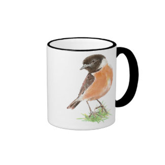 Cute Stonechat,, Watercolor Bird Collection Ringer Mug