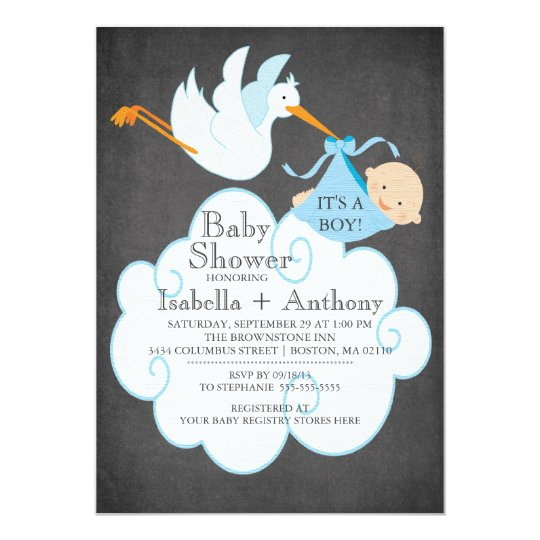 Cute Stork Chalkboard Boy Baby Shower Invitatation Card