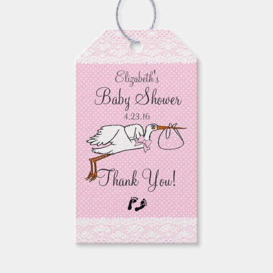 Cute Stork Pink Baby Shower Guest Favour Gift