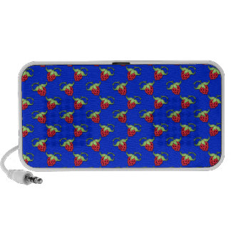 Cute Straberry Pattern On Blue iPhone Speaker