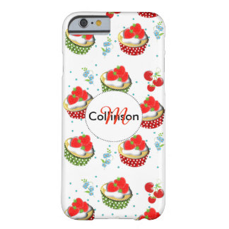 Cute Strawberry and Cream Topped Yummy Cup Cakes Barely There iPhone 6 Case
