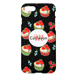 Cute Strawberry and Cream Topped Yummy Cup Cakes iPhone 8/7 Case