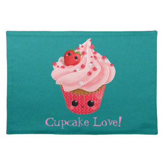 Cute Strawberry Cupcake Placemat