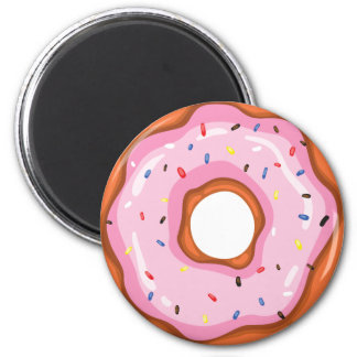 Cute Strawberry Dipped Sprinkles Doughnuts. 6 Cm Round Magnet