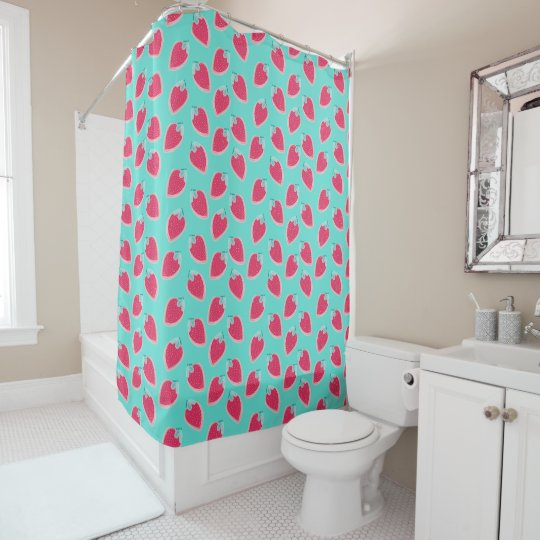 Cute Strawberry Fruit Pattern Shower Curtain