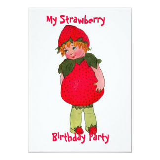 Cute Strawberry Kid Birthday Party Invitation