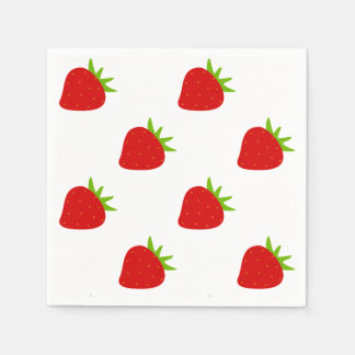 Cute Strawberry Pattern Paper Serviettes