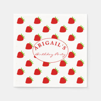 Cute Strawberry Pattern Personalized Napkin Paper Napkin