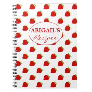 Cute Strawberry Pattern Recipe Notebook