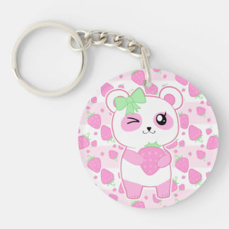 Cute Strawberry pink Kawaii Panda bear Double-Sided Round Acrylic Key Ring