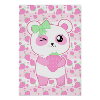 Cute Strawberry pink Kawaii Panda bear Poster