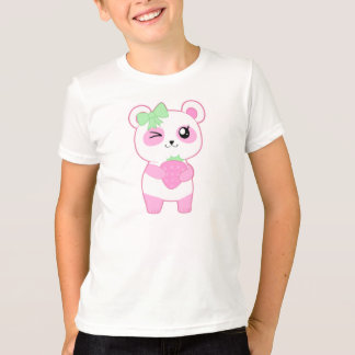 Cute Strawberry pink Kawaii Panda bear T-Shirt