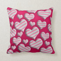 Cute Stripe Hearts on Pink Cushion