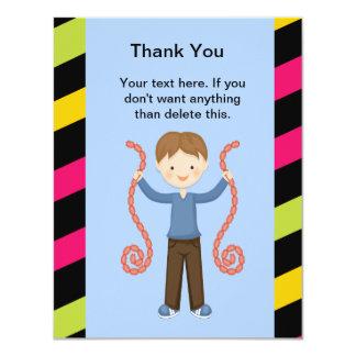 Cute, Striped, Arcade Birthday Boy Thank You Card