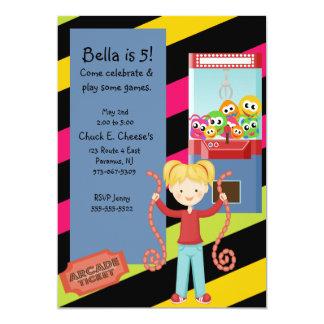 "Cute, Striped, Arcade Birthday Girl Invitation 5"" X 7"" Invitation Card"