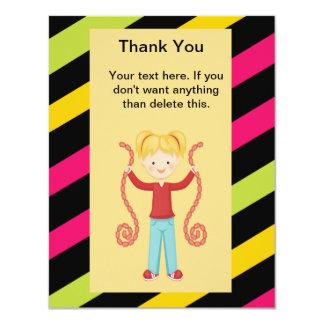 Cute, Striped, Arcade Birthday Girl Thank You 11 Cm X 14 Cm Invitation Card